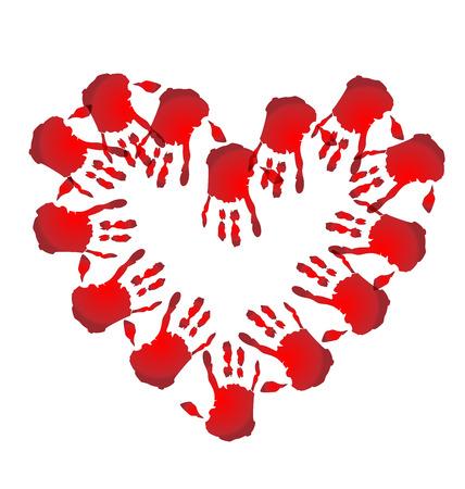 orphan: Teamwork hands heart shape icon vector