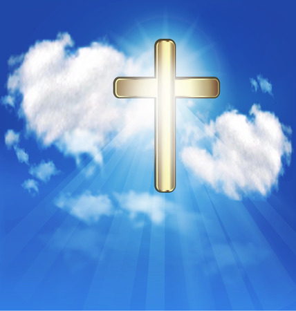 Gold cross and blue sky vector background