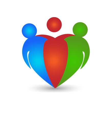 Partners friends teamwork business concept in heart shape Vector