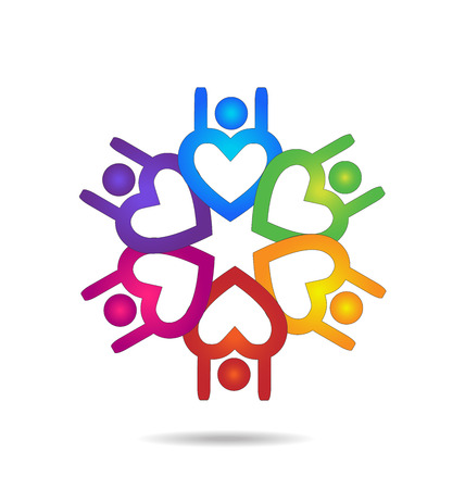 Teamwork people heart shape design