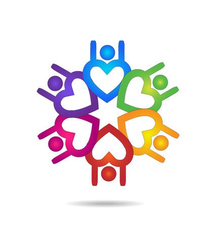 connect people: Teamwork people heart shape design