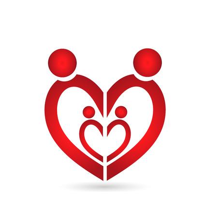 abstract family: Family union symbol heart