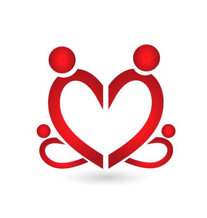 Family symbol heart vector Vector