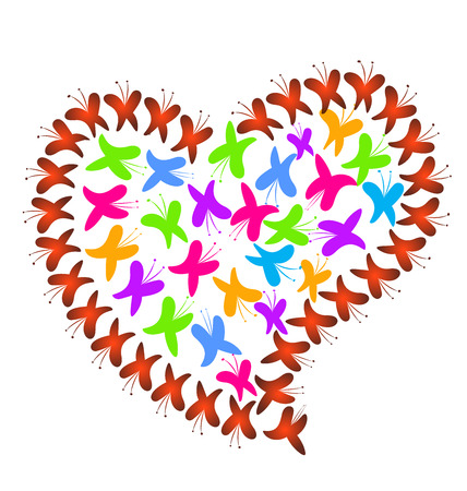Vector heart love of colorful butterflies