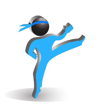 karate fighter: Karate blue silhouette vector icon figure