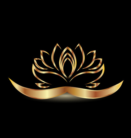 Gold lotus flower  Vector