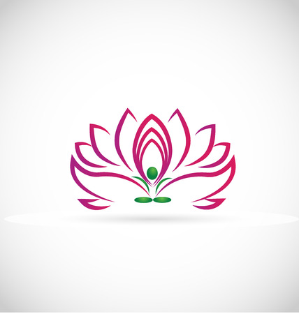 purple lotus: Yoga man lotus flower web symbol icon vector image