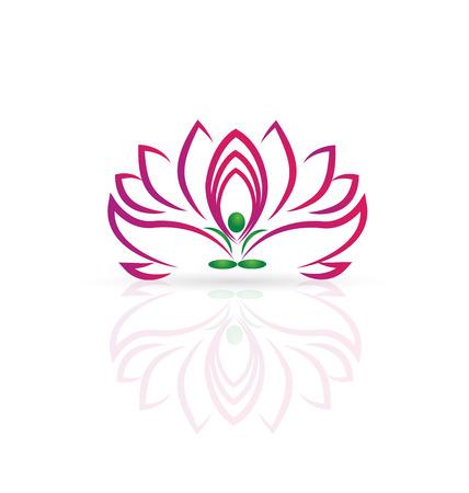 Yoga man and Lotus flower web icon vector image