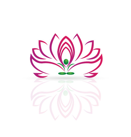 Yoga man and Lotus flower web icon vector image Vector
