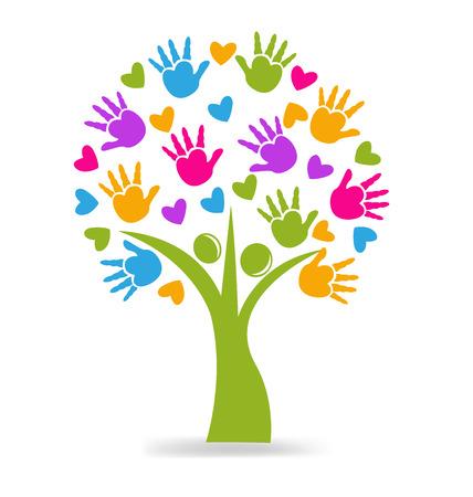 jardin de infantes: Manos de árboles y figuras corazones Vectores
