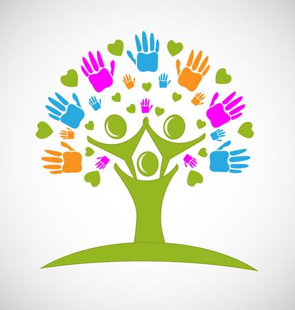 jardin de infantes: Imagen del logotipo del vector manos árbol y los corazones cifras