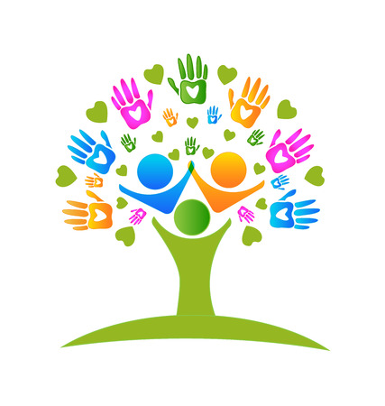 nonprofit: Tree hands and hearts figures logo icon vector