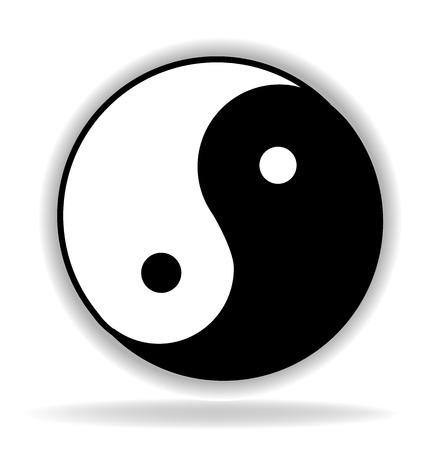 조화와 삶의 음과 양 상징 흑백 아이콘