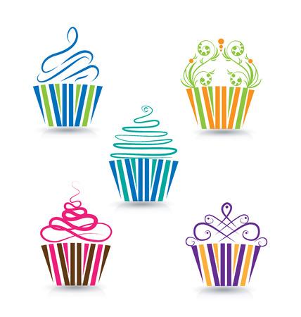 様式化されたカップケーキ渦巻き模様デザイン