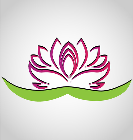 massage symbol: Lotus flower chinese symbol vector icon design