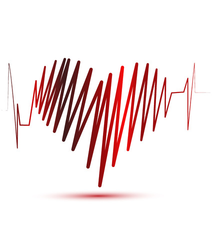 ekg: Heart of love cardiogram vector