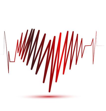 atrial: Heart of love cardiogram vector