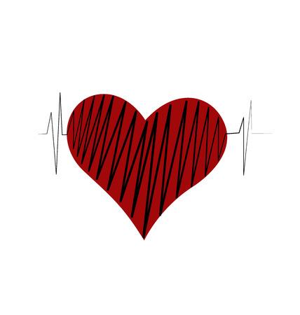atrial: Heart beats of love vector