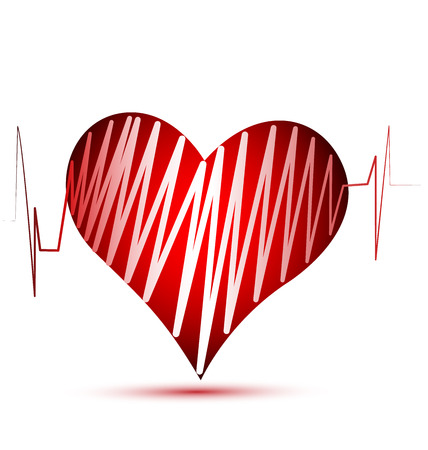 stock photograph: Heart love cardiogram vector