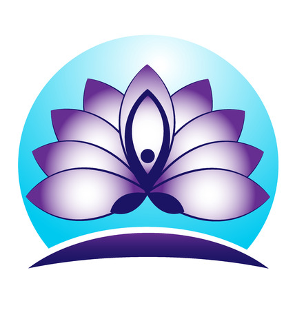 lotus leaf: Blue lotus flower yoga symbol vector icon logo design
