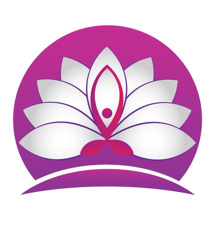 Lotus flower yoga symbol vector icon logo design Vettoriali