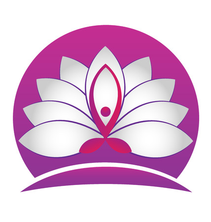 flor de loto: Lotus de la yoga de la flor símbolo vector icono de diseño de logotipo
