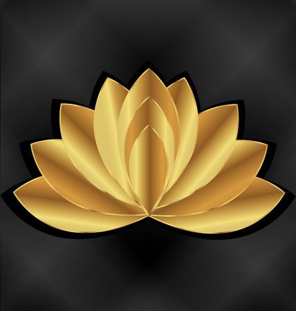 Złoty kwiat lotosu Ilustracje wektorowe