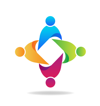 employee stock option: Teamwork business unity people icon vector logo