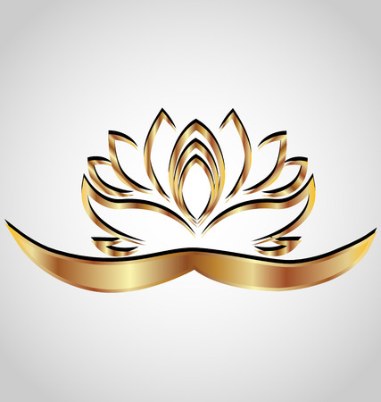 flower logo: Gold stylized lotus flower vector image Illustration
