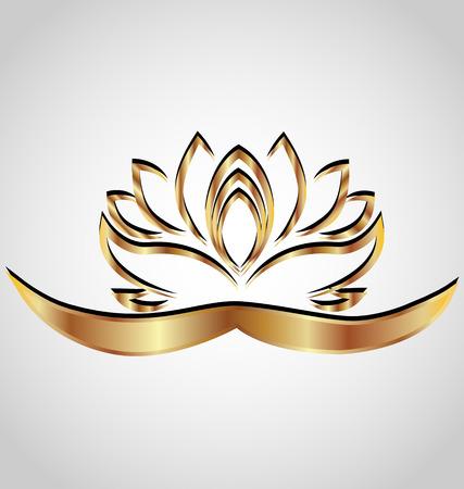 flor de loto: Imagen de la flor de loto del vector estilizada Oro Vectores