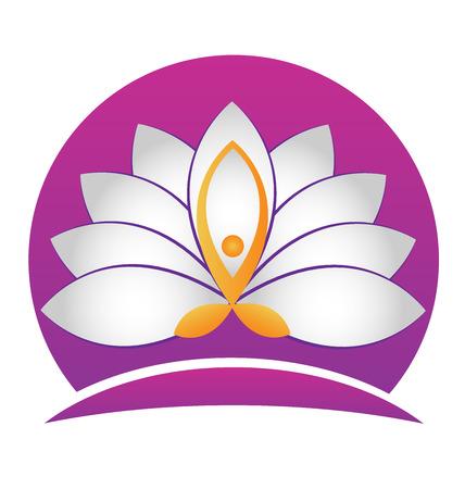 Yoga man lotus white flower vector icon identity card design Illustration