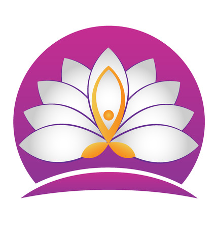 Yoga man lotus white flower vector icon identity card design Vector
