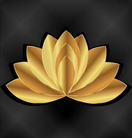 flora  vector: Gold lotus flower with black background vector identity card template Illustration