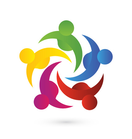 Concept of business,employees,community, union, goals,solidarity , partners,children - vector graphic. This logo template also represents colorful kids playing together holding hands in circles, union of workers, employees meeting Ilustração