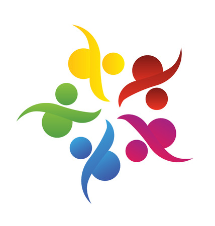 Concept of community ,union, goals,solidarity , partners,children - vector graphic. This logo template also represents colorful kids playing together holding hands in circles, union of workers, employees meeting
