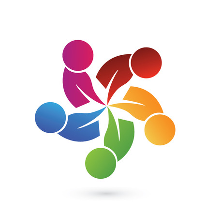team logo: Concept of community unity, goals,solidarity , friendship - vector graphic. This logo template also represents colorful kids playing together holding hands in circles, union of workers, employees meeting