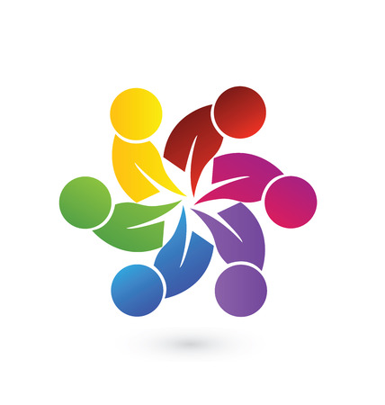 Concept of community unity, goals,solidarity , friendship - vector graphic. This logo template also represents colorful kids playing together holding hands in circles, union of workers, employees meeting Vector