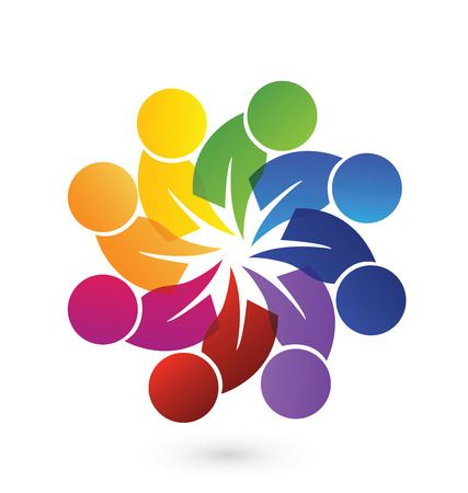 happy employee: Concept of community unity, goals,solidarity , friendship - vector graphic. This logo template also represents colorful kids playing together holding hands in circles, union of workers, employees meeting