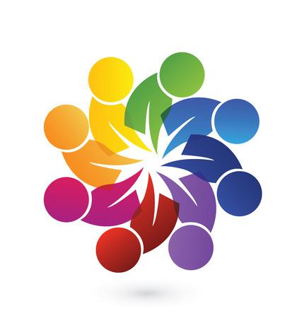 Concepto de unidad de la comunidad, las metas, la solidaridad, la amistad - vector gráfico. Esta plantilla logotipo también representa colorido niños jugando juntos tomados de la mano en círculos, la unión de los trabajadores, los empleados reunión