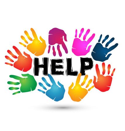 Manos ayudan icono. Voluntario símbolo de fondo