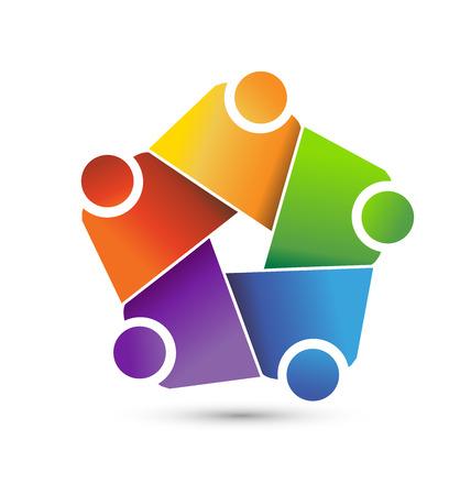 together voluntary: Teamwork hug friends logo symbol of union vector icon