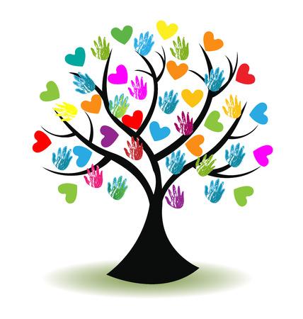fraternidad: Imagen del icono del vector de impresión manos y corazones Árbol Vectores