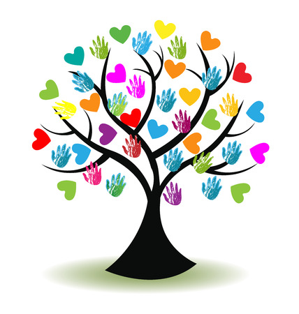 volunteering: Tree print hands and hearts icon vector image