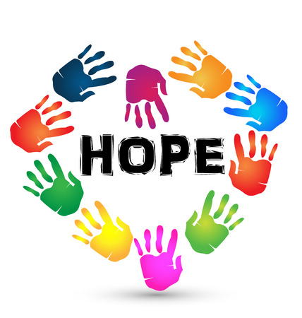 Hands hope icon. Hopeless and helping  symbol background Vector