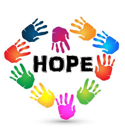 fraternidad: Manos esperan icono. Hopeless y ayudando símbolo fondo Vectores