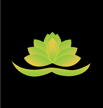 Green lotus flower vector icon background. Yoga symbol logo design Vector