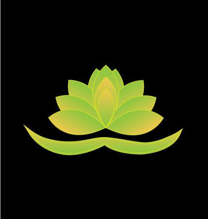 Green lotus flower vector icon background. Yoga symbol logo design Illustration