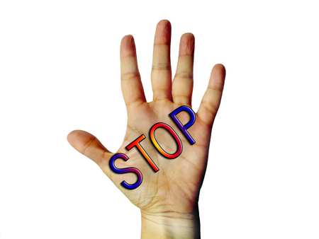 spurn: Hand stop sign of refusing