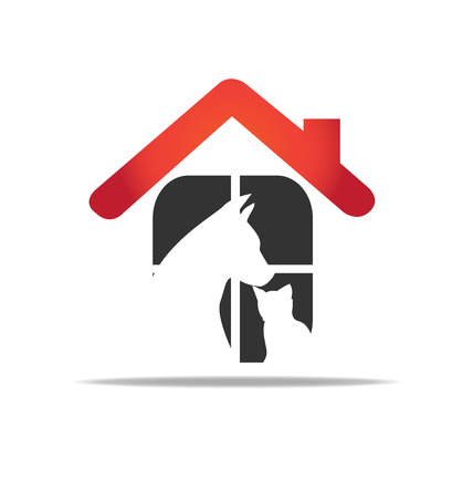 free vector art: Cat and dog home rescue protection of animals logo vector