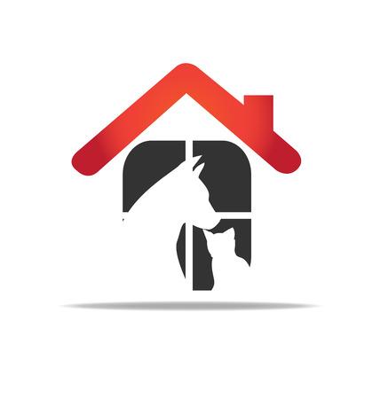 El gato y el perro de rescate hogar protección de los animales vector logo